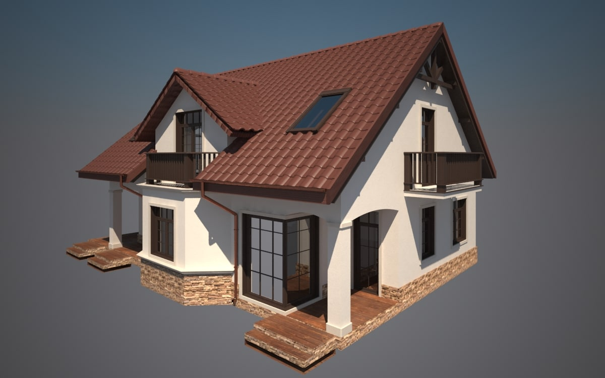 printable house exterior cottage 3d max