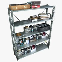 Metal Shelving With Clutter (2)