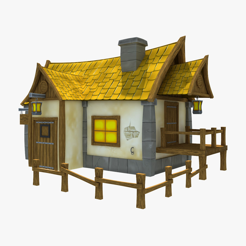 medieval cartoon house 3d model