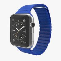 apple watch blue leather 3d model