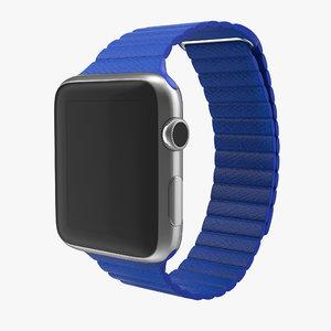 3d model apple watch blue leather