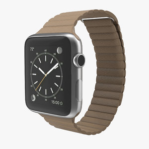 apple watch brown leather 3d 3ds