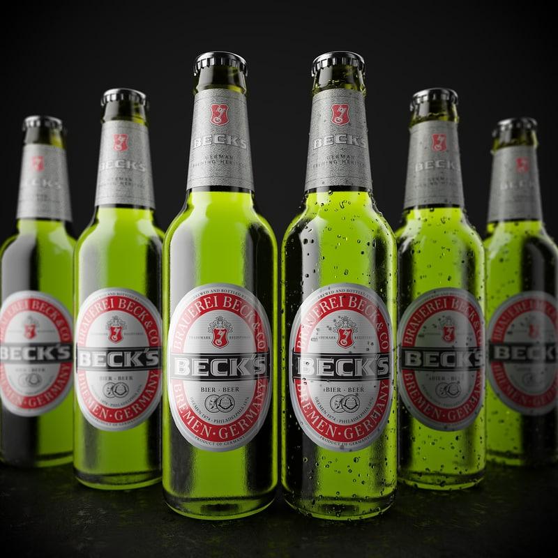3d model beck s beer bottle