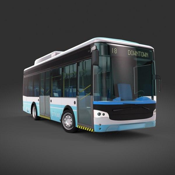 electric city bus 3d model