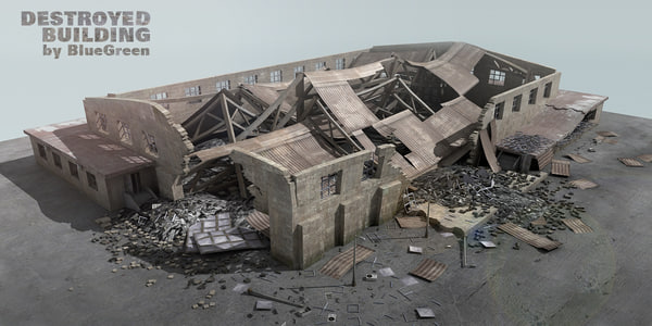 3d destroyed building