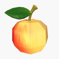 3d flat apple