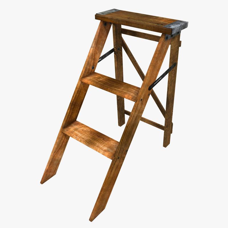old wooden step ladder 3d 3ds