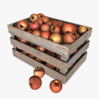 3d crate apples model