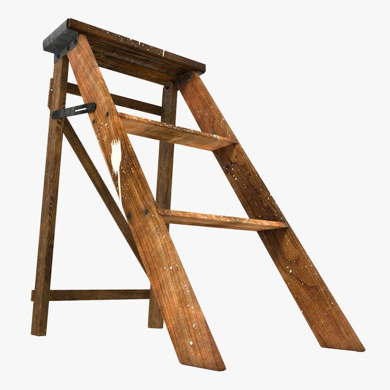 3d old wooden step ladder model