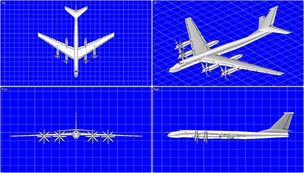 tu-95 bear aircraft solid dwg