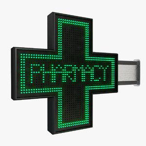 pharmacy sign 3d model