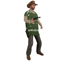 rigged cowboy hat 3d model