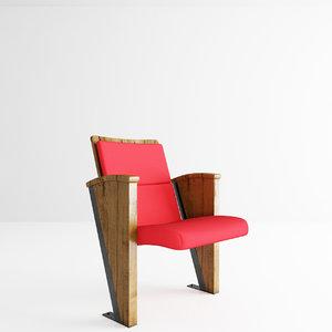 3d model auditorium chair fox