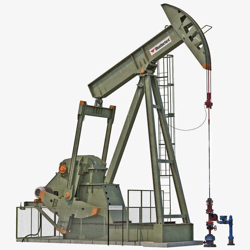 oil pump jack rigged 3d max