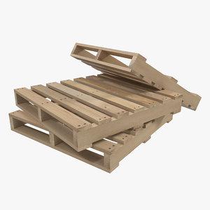 wooden pallet modeled 3d 3ds