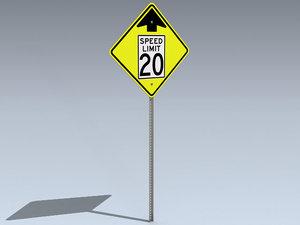 speed limit change ahead 3d 3ds