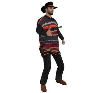 rigged cowboy hat 3d model