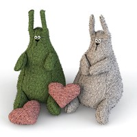 hares knitted 3ds