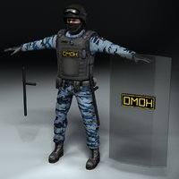 3d model omon russian police officer