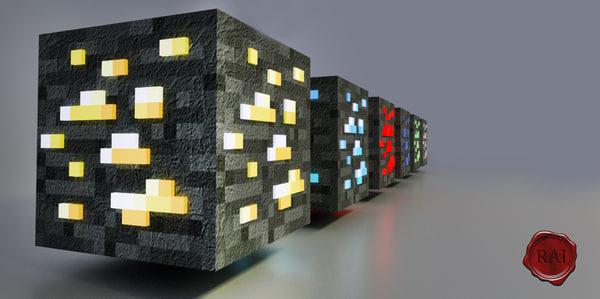 3d ores minecraft model