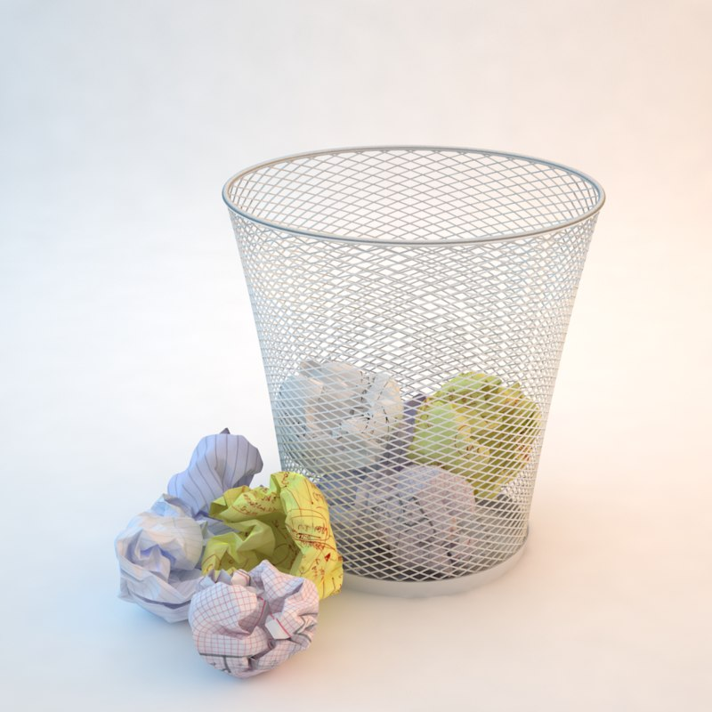 3d model crumpled paper waste basket