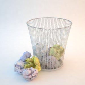 3d model crumpled paper waste basket