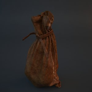 3d medieval coin purse model