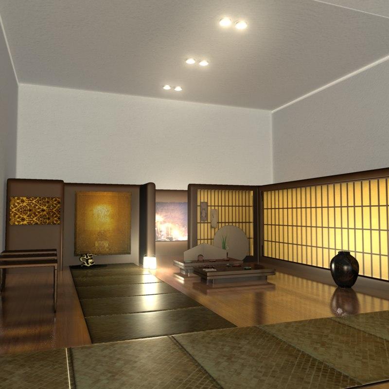 3d japanese tea house interior