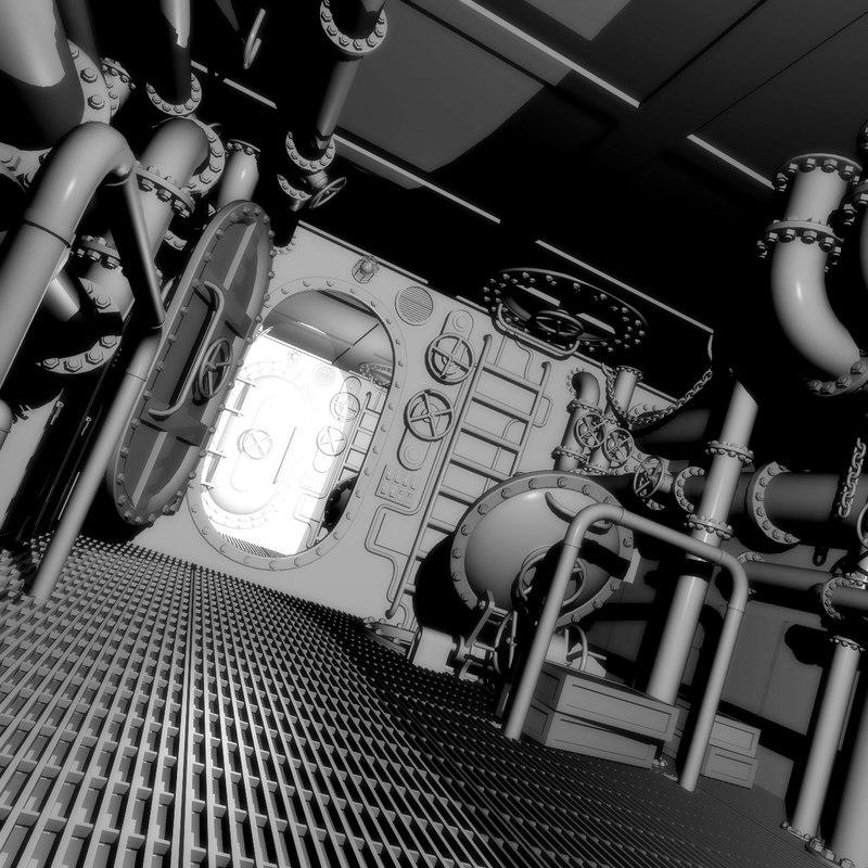 interior submarine 3d model