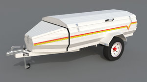 3d luggage trailer model