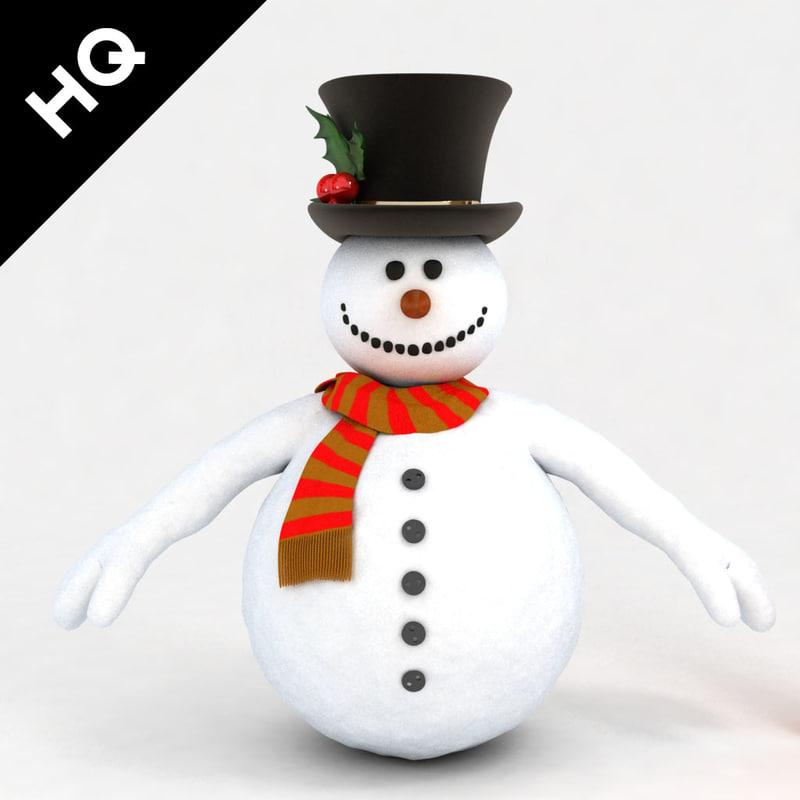 snowman scarf 3d model