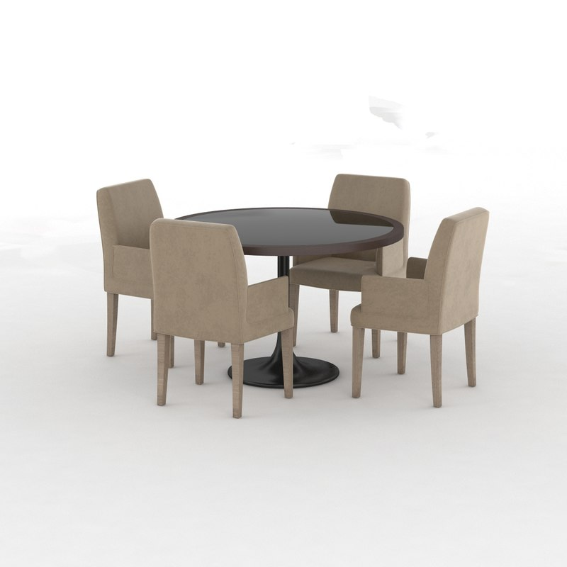 classical table glass chair 3d max