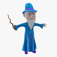 3d cartoon wizard model