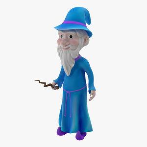 3d cartoon wizard rigged modeled model