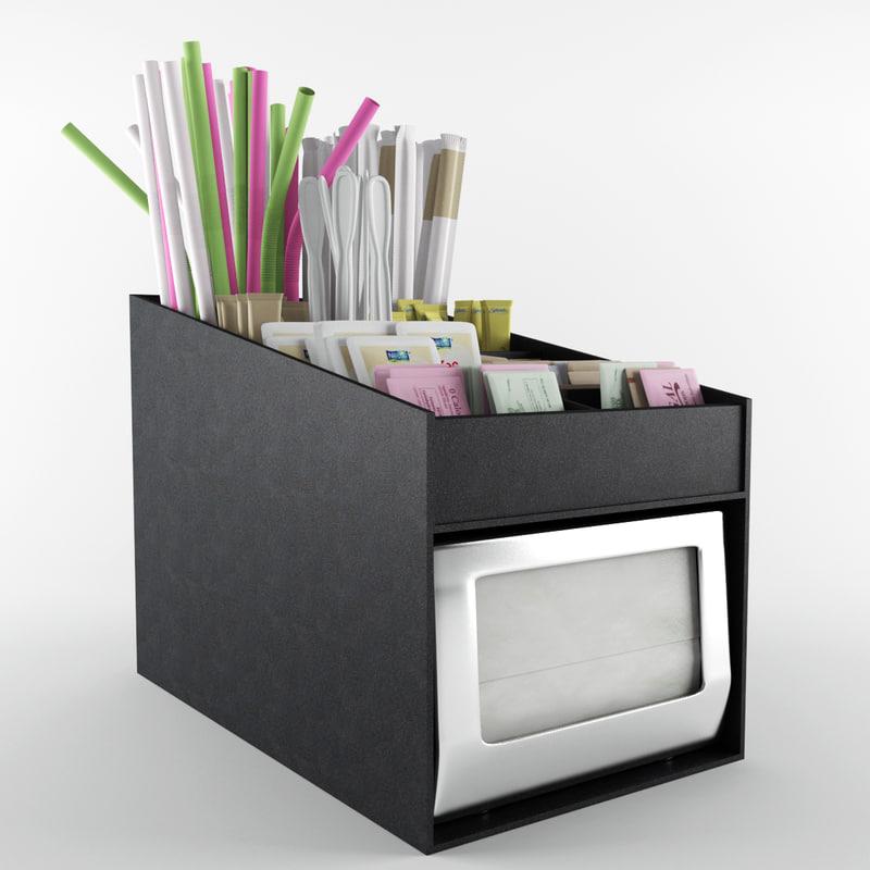3d model of condiment organizer napkin