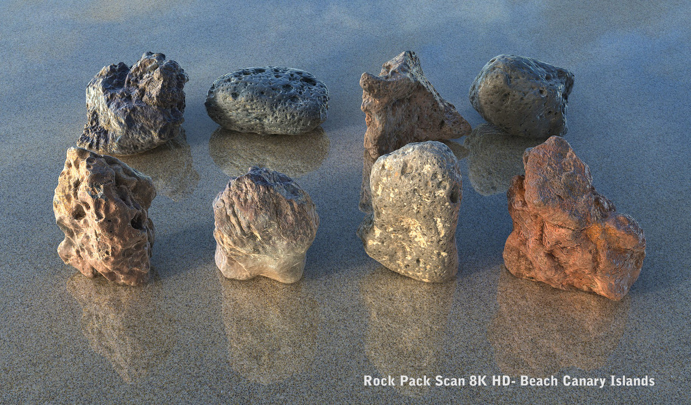 beach canary islands stones 3d model