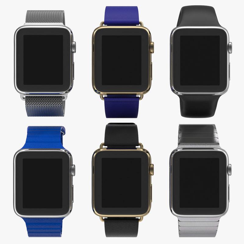 apple watch 2 modeled 3d obj