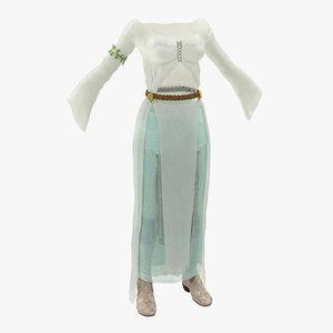 female medieval clothes modeled 3d model
