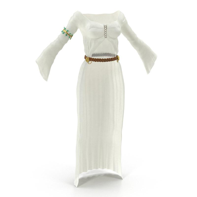 female medieval clothes 5 3d model