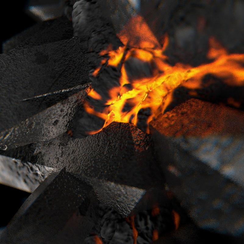 glowing metallic ore stone 3d c4d
