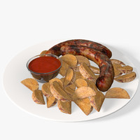 3d sausages potatoes model