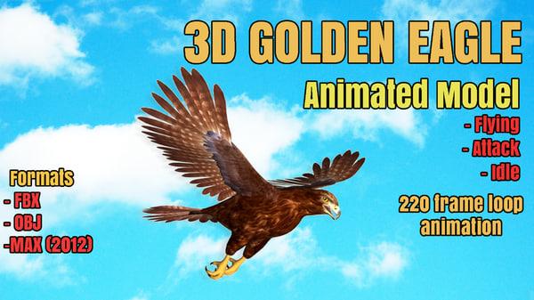 golden eagle animation modeled 3d model