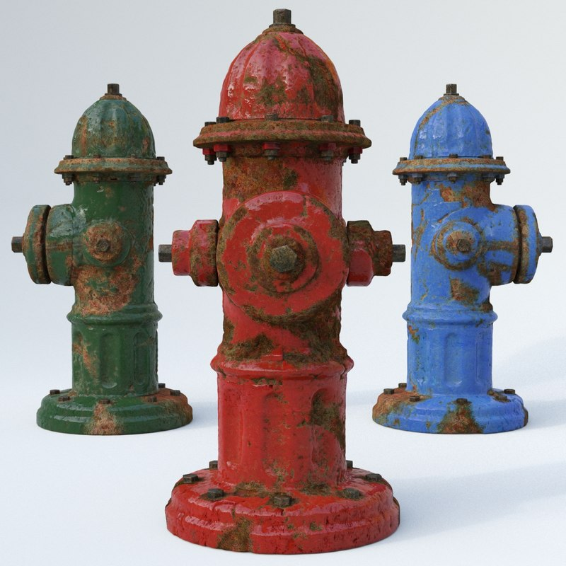 3ds max old rusty hydrant