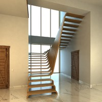 Creative wood stairs scene