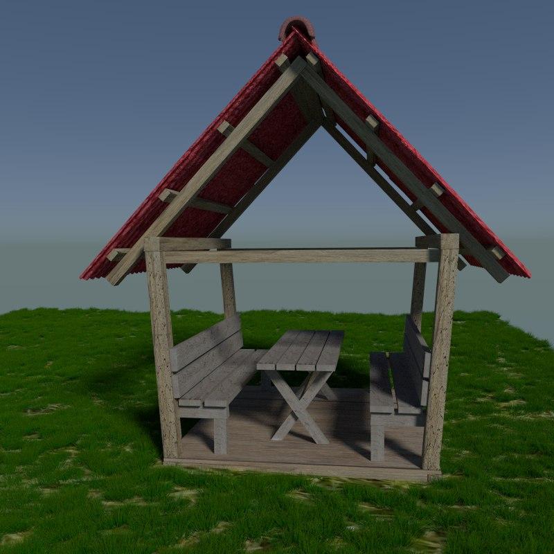 realistic garden beer house 3d model
