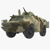 BRDM 2 Amphibious Vehicle Soviet Union Rigged 3D Model