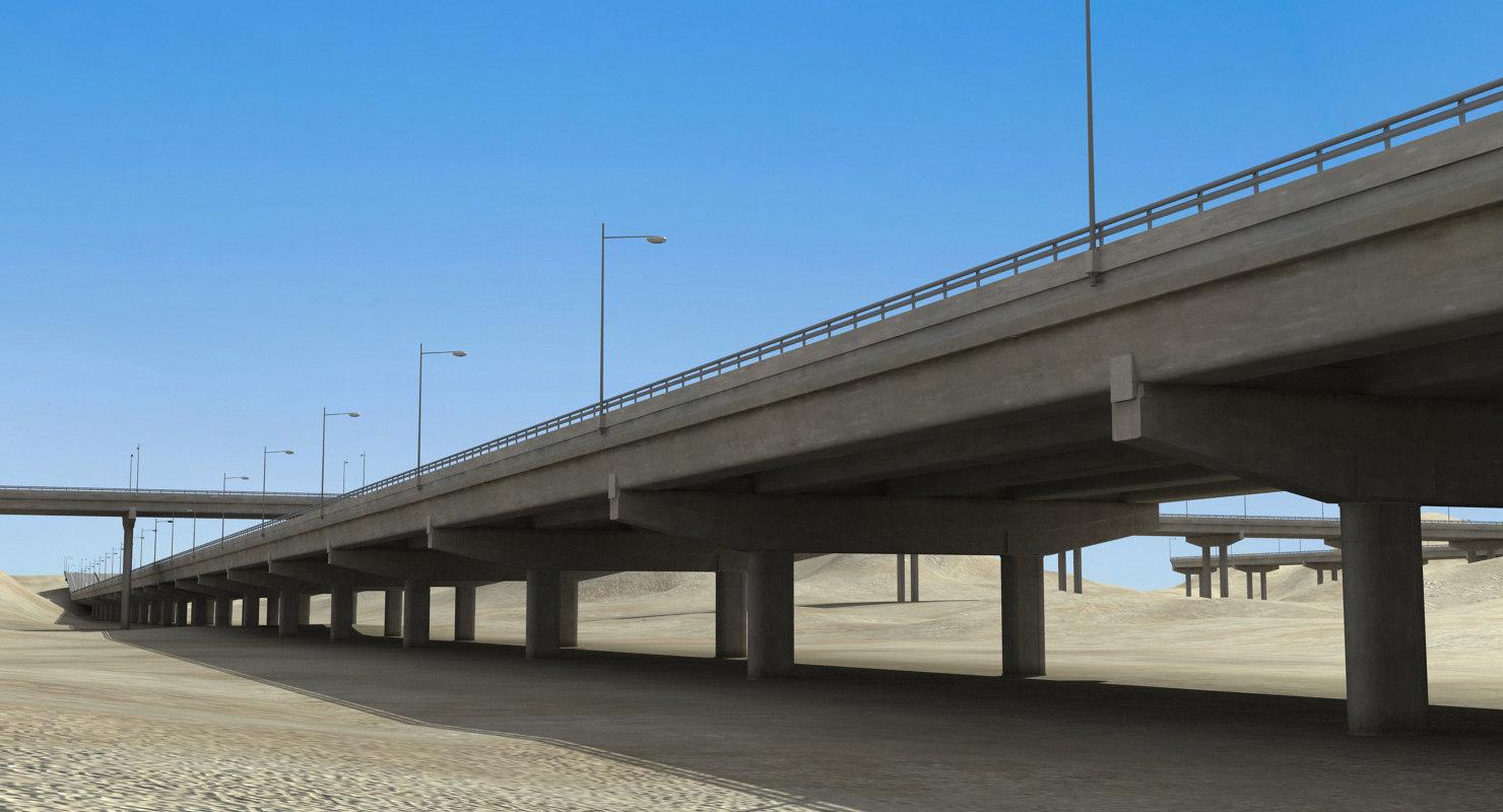 3d highway construction desert model