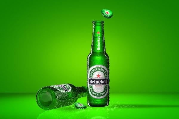 heineken beer bottle obj