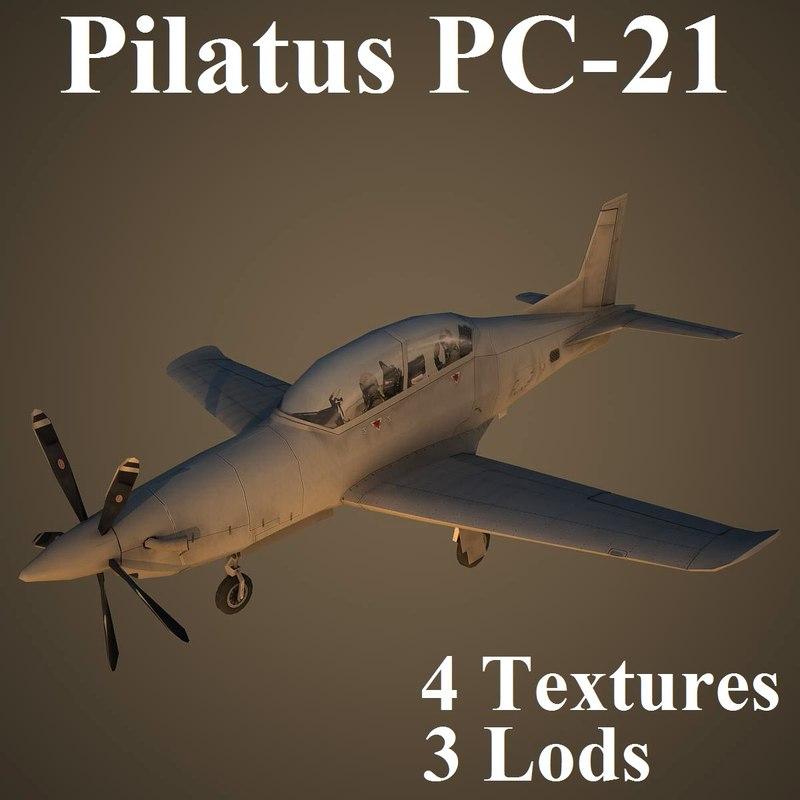 3d model of pilatus air low-poly