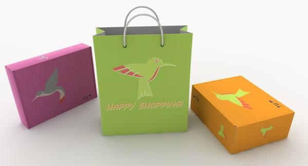 shopping bag boxes 3d model